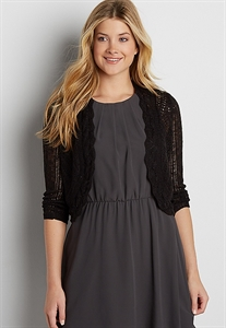 Cropped Cardigan With Scalloped Open Front
