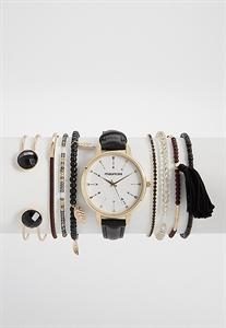 Black Faux Leather Watch And Bracelet Set In Keepsake Tin