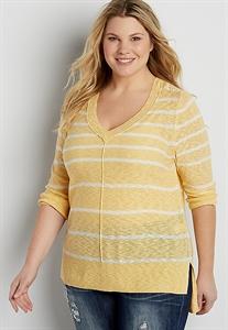 Plus Size Striped Pullover