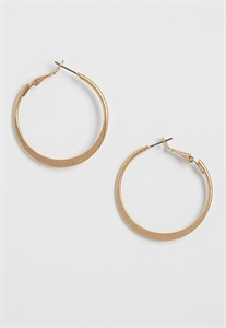 Goldtone Flattened Hoop Earrings