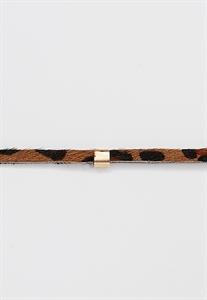 Faux Leopard Fur Wrap Choker Necklace With Chain Tassels