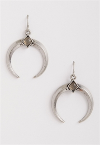 Crescent Earrings With Gray Bead