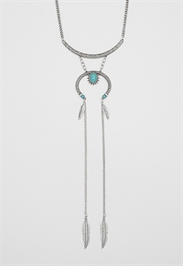 Engraved Lariat Necklace With Faux Turquoise Stone