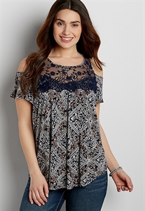 Cold Shoulder Tee With Embroidered Yoke