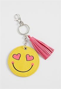 Smiley Face Handbag Charm With Tassel