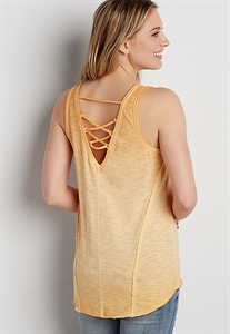 The 24/7 Burnwash Tank With Lace Up Back