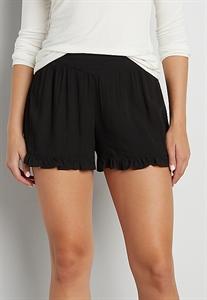 Shorts With Ruffled Hem In Black