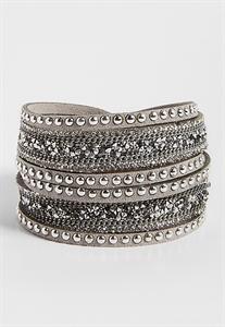Sparkling Embellished Faux Suede Wrap Bracelet