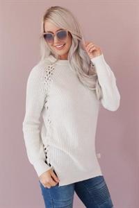 Hemline Lace Up Sweater