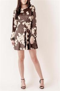 Floral Keyhole Suede Dress