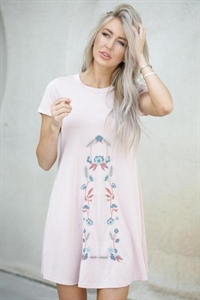 Embroidered T-Shirt Dress
