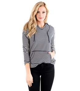 Hooded Breeze Pullover - Navy Stripe