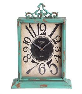 Aqua Metal Table Clock