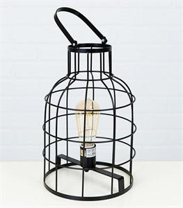 LED Rustic Metal Lantern Lamp