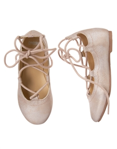 Shimmer Lace-Up Flats