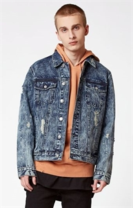 PacSun Destroyed Acid Wash Denim Trucker Jacket