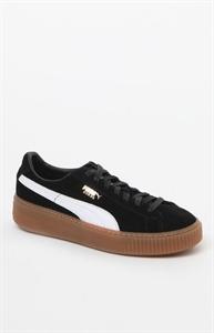 Puma Women's Black Suede Platform Core Sneakers