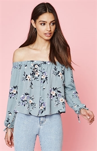 Kendall & Kylie Floral Off-The-Shoulder Button Front Top
