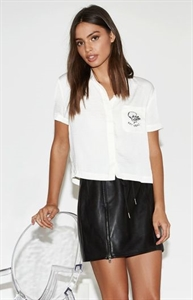 Kendall & Kylie Embroidered Pocket Short Sleeve Top