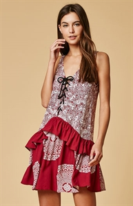 MinkPink Mandala Wonder Lace-Up Front Dress