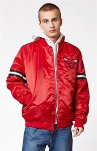 Starter Chicago Bulls Satin Red Bomber Jacket