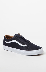 Vans Premium Leather Old Skool Navy & White Shoes
