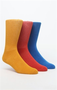 Vibetown Basic 3 Pack Blue Yellow & Red Crew Socks