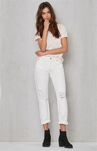 Levi's White Tumble 501 CT Ripped Jeans