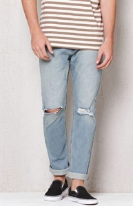 PacSun Slim Ripped Light Wash Stretch Jeans