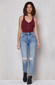 PacSun Ladder Blue Ripped Mom Jeans