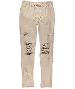 EPTM. Thrashed Khaki Twill Pants