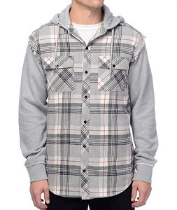 Empyre Grim Grey, Black & Red Hooded Flannel Shirt