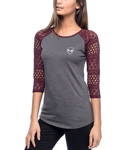 A-Lab Sheiland Alien Burgundy & Charcoal T-Shirt