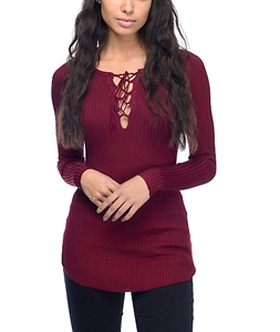 Almost Famous Charlie Lace up Burgundy Sweater