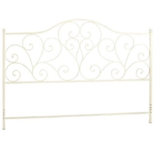 Iron Metal Scroll King Antique White Headboard