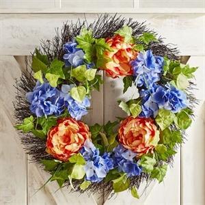 "Faux Orange Hydrangea 22"" Wreath"