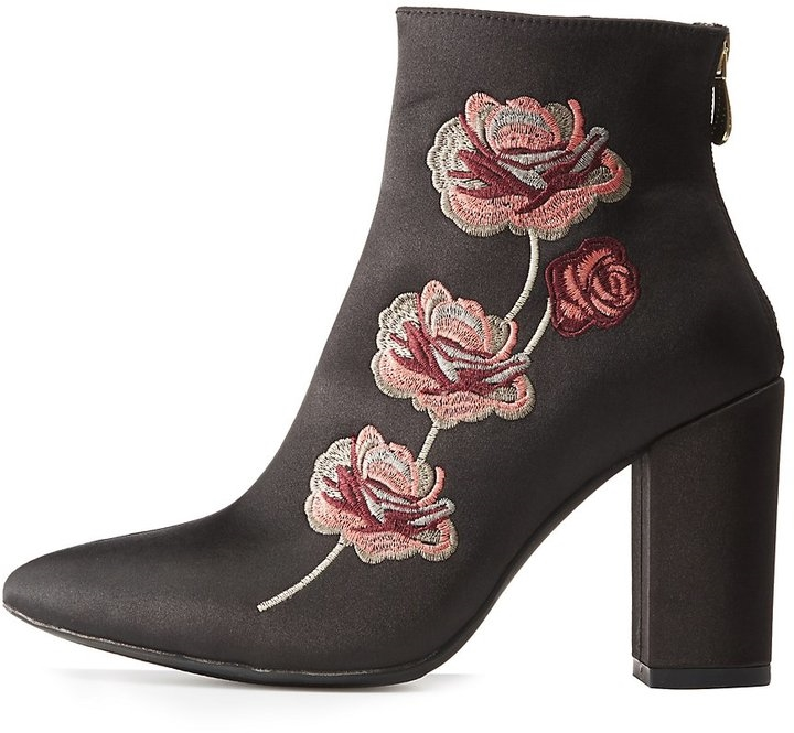 Embroidered Satin Ankle Booties - Yorktown
