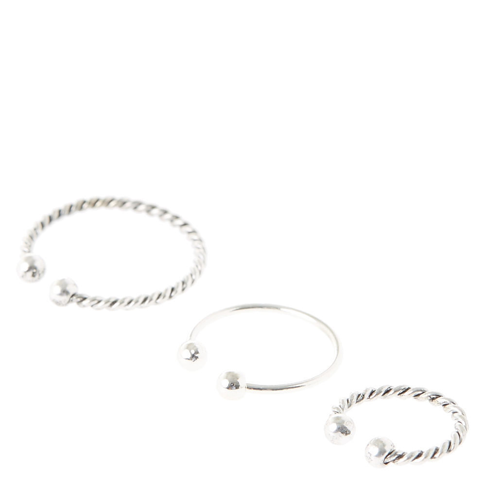 Claire S Textured Silver Faux Nose Hoops Silver Shops At South Town